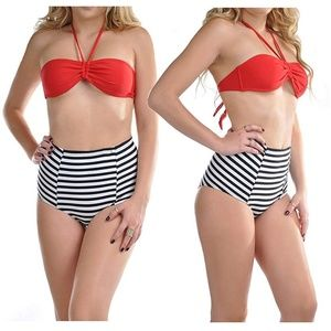 Red Striped High Waisted Halter Bandeau Two Piece